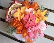 プリザードフラワー5000円華やかなオレンジを基調としたアレンジメント